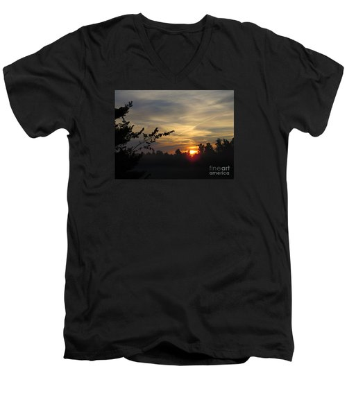 Sunrise Over The Trees Men's V-Neck T-Shirt by Craig Walters
