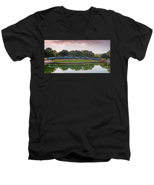 Sunrise Panorama Of Cattle Drive Sculpture At Pioneer Plaza - Downtown Dallas North Texas Men's V-Neck T-Shirt