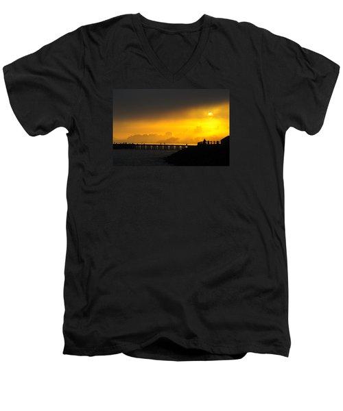 Men's V-Neck T-Shirt featuring the photograph Sunrise San Francisco by Steve Siri