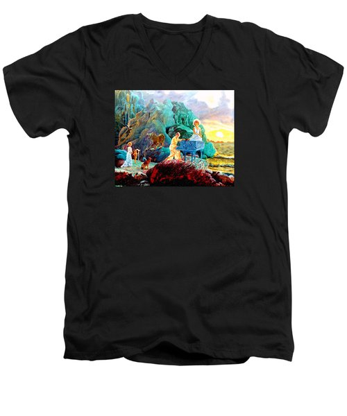 Men's V-Neck T-Shirt featuring the painting Sunrise Sonata by Henryk Gorecki