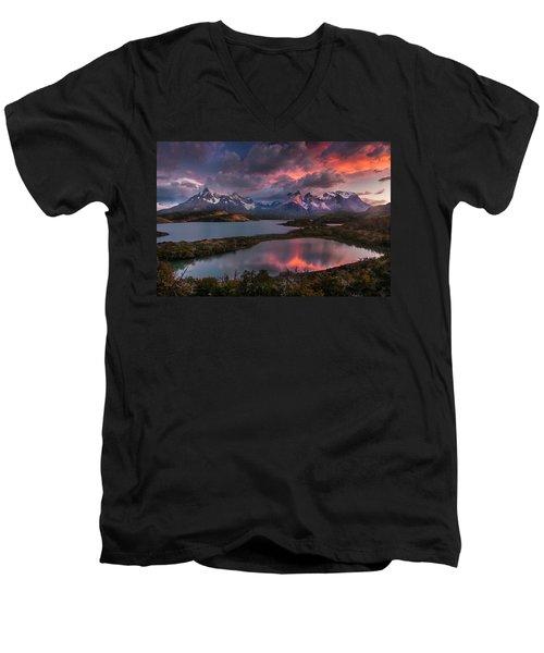 Sunrise Spectacular At Torres Del Paine. Men's V-Neck T-Shirt