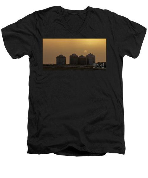 Sunrise Through The Fog Men's V-Neck T-Shirt by Brad Allen Fine Art