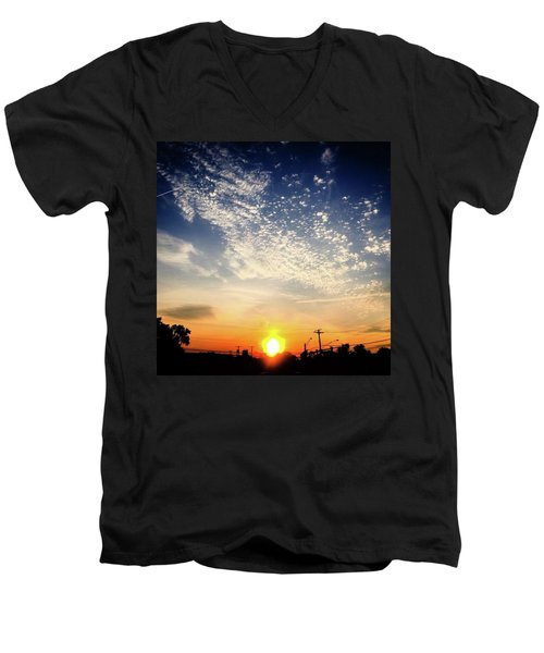 Men's V-Neck T-Shirt featuring the photograph Sunset 25 May 16 by Toni Martsoukos
