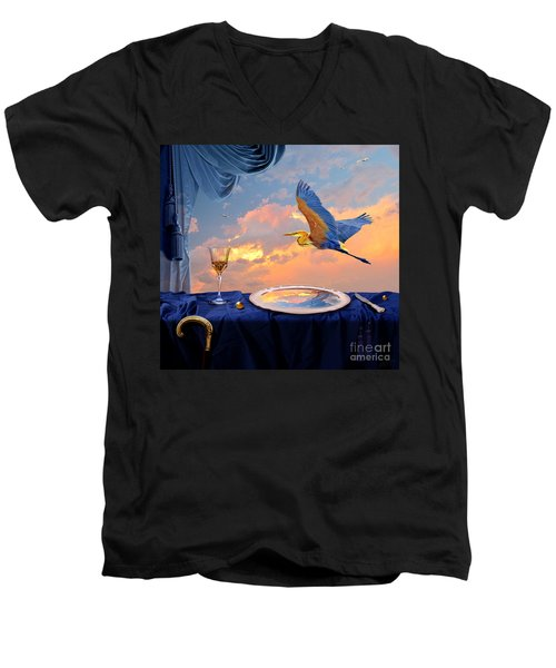 Men's V-Neck T-Shirt featuring the digital art Sunset by Alexa Szlavics