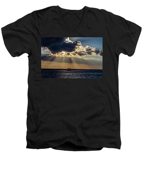 Sunset And A Three Masted Schooner Men's V-Neck T-Shirt