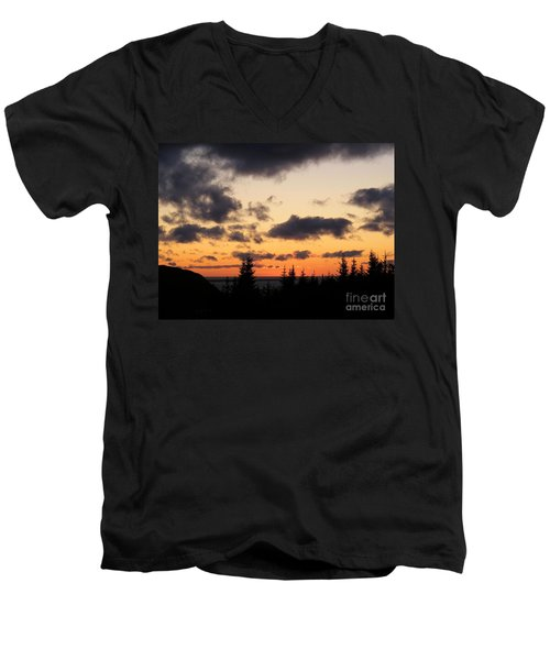 Men's V-Neck T-Shirt featuring the photograph Sunset And Dark Clouds by Barbara Griffin