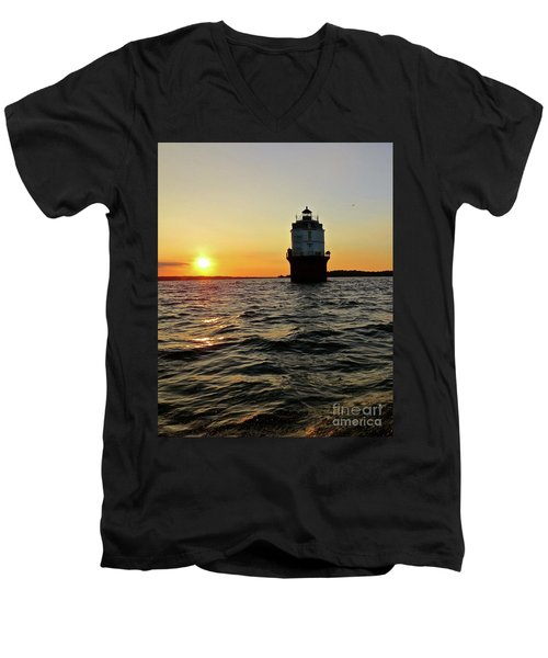Sunset At Baltimore Light  Men's V-Neck T-Shirt by Nancy Patterson