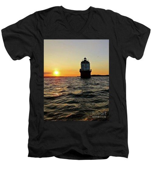 Sunset At Baltimore Light  Men's V-Neck T-Shirt