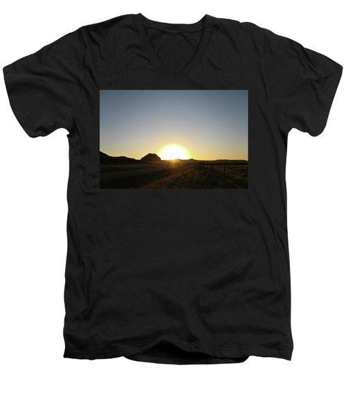 Sunset At Castle Butte Sk Men's V-Neck T-Shirt