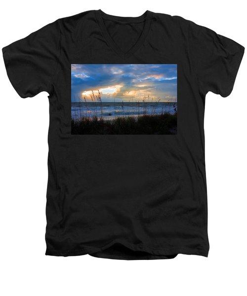 Sunset At Delnor Wiggins Pass State Park Men's V-Neck T-Shirt