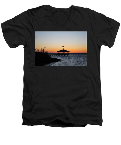Sunset At Fagers Island Gazebo Men's V-Neck T-Shirt