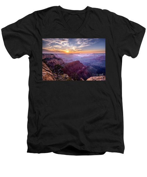 Sunset At Grand Canyon Men's V-Neck T-Shirt