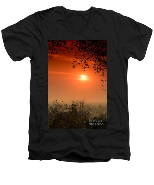 Sunset At Phnom Bakheng Of Angkor Wat Men's V-Neck T-Shirt