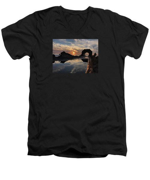 Men's V-Neck T-Shirt featuring the photograph Sunset At The Beach by Alex King