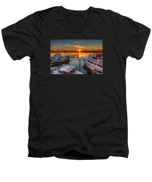 Sunset At The Marina Men's V-Neck T-Shirt