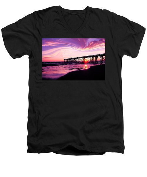 Sunset At The Pier Men's V-Neck T-Shirt by Eddie Eastwood