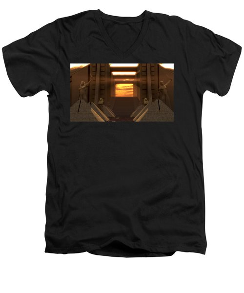Sunset At The Temple Men's V-Neck T-Shirt