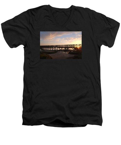 Sunset At The Wooden Bridge Men's V-Neck T-Shirt by Angelo DeVal