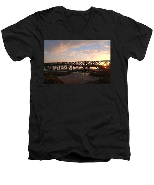 Sunset At The Wooden Bridge Men's V-Neck T-Shirt