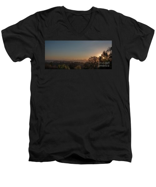 Sunset Behind Tree With Forest And Mountains In The Background Men's V-Neck T-Shirt