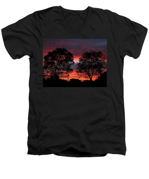 Sunset Behind Two Trees Men's V-Neck T-Shirt
