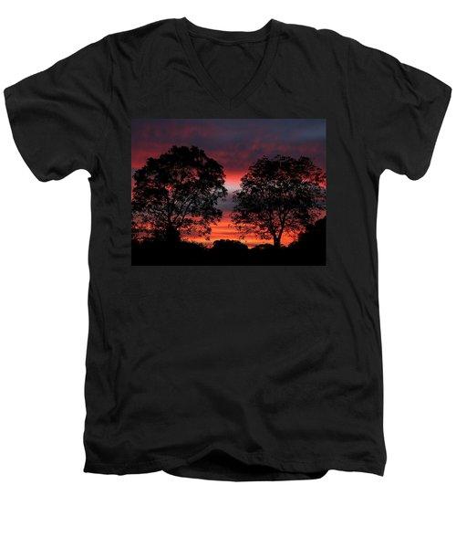 Sunset Behind Two Trees Men's V-Neck T-Shirt