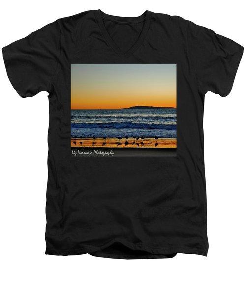 Sunset Bird Reflections Men's V-Neck T-Shirt