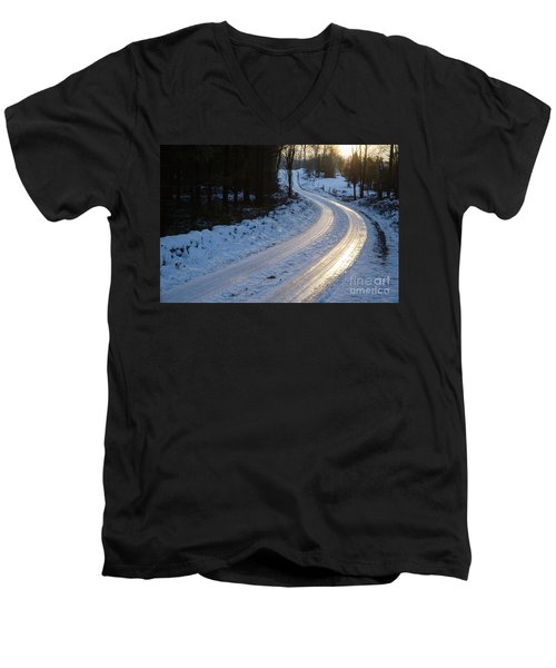 Sunset By An Icy Country Road Men's V-Neck T-Shirt