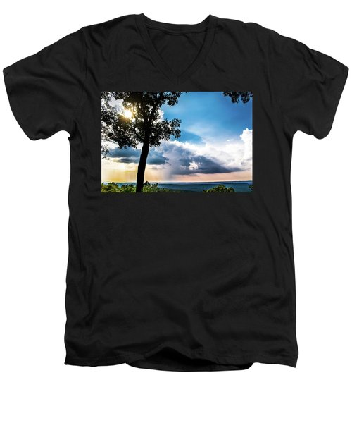 Men's V-Neck T-Shirt featuring the photograph Sunset Explosion by Shelby Young