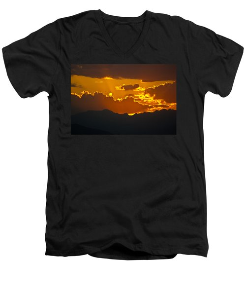 Men's V-Neck T-Shirt featuring the photograph Sunset Fire by Colleen Coccia