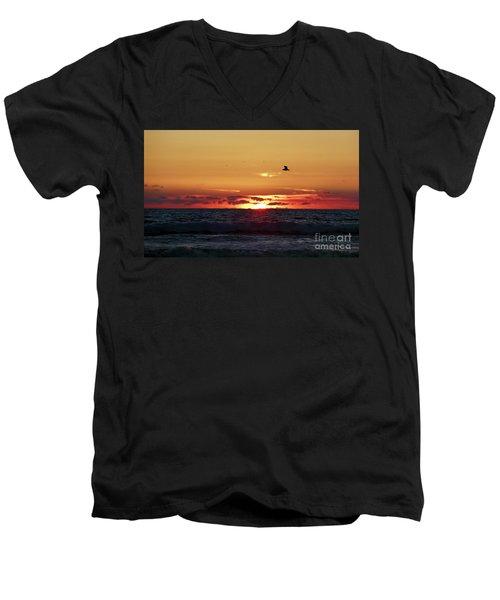 Sunset Flight Men's V-Neck T-Shirt by Nicki McManus