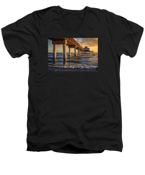 Men's V-Neck T-Shirt featuring the photograph Sunset Fort Myers Beach Fishing Pier by Edward Fielding