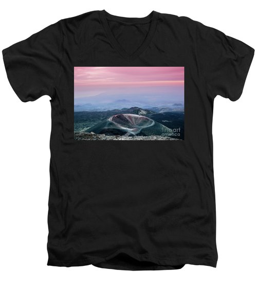 Sunset From The Top Of The Etna Men's V-Neck T-Shirt