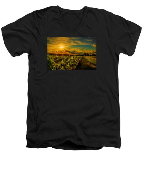 Sunset In A North Carolina Tobacco Field  Men's V-Neck T-Shirt by John Harding