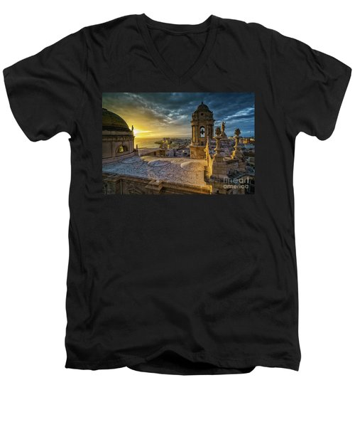 Men's V-Neck T-Shirt featuring the photograph Sunset In Cadiz Cathedral View From Levante Tower Cadiz Spain by Pablo Avanzini