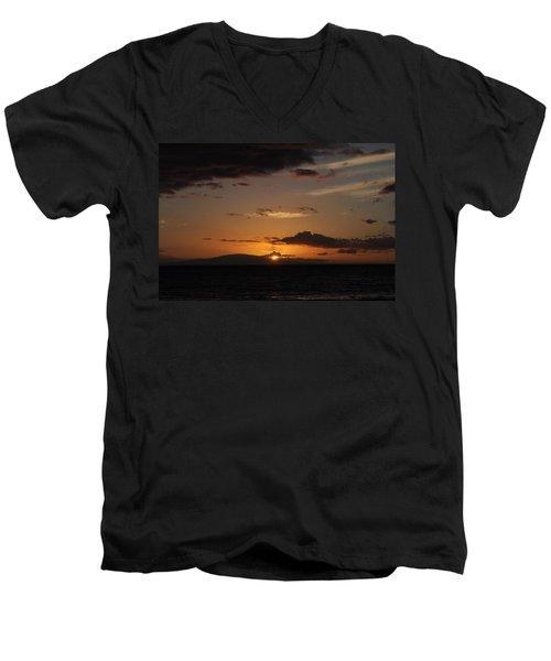 Sunset In Maui 2 Men's V-Neck T-Shirt by Michael Albright