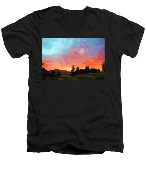 Sunset In Oregon Men's V-Neck T-Shirt by Debra Baldwin
