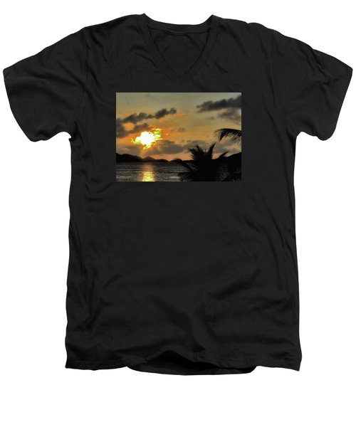 Men's V-Neck T-Shirt featuring the photograph Sunset In Paradise by Jim Hill
