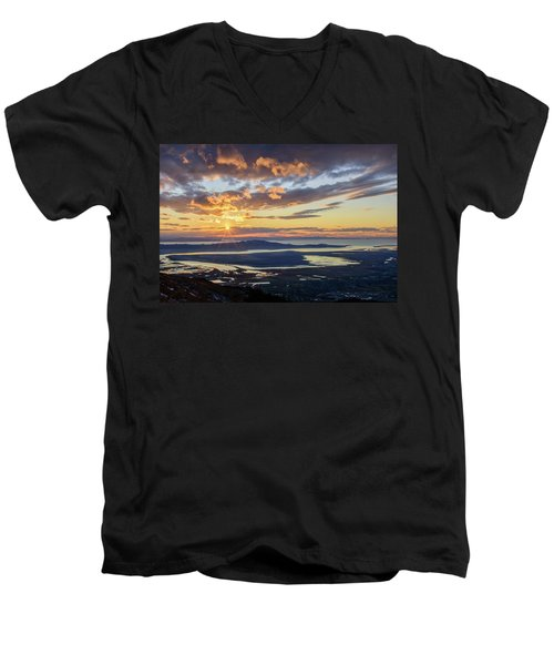 Men's V-Neck T-Shirt featuring the photograph Sunset In The Desert by Bryan Carter