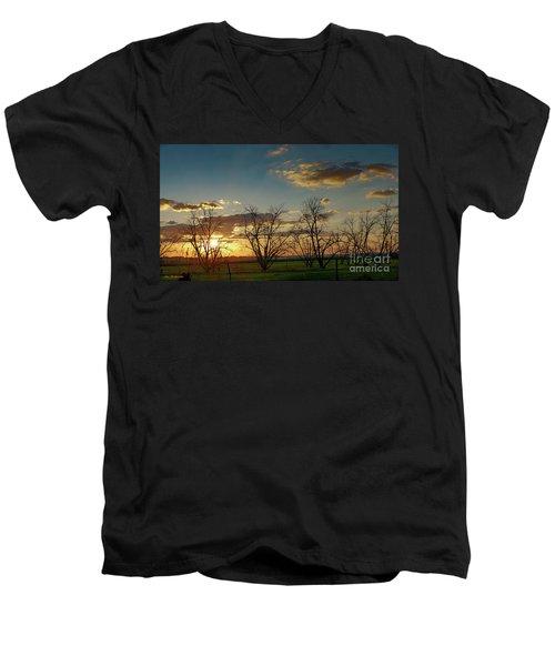 Sunset In The Fields Of Binyamina Men's V-Neck T-Shirt
