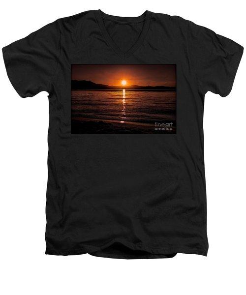 Sunset Lake 810pm Textured Men's V-Neck T-Shirt