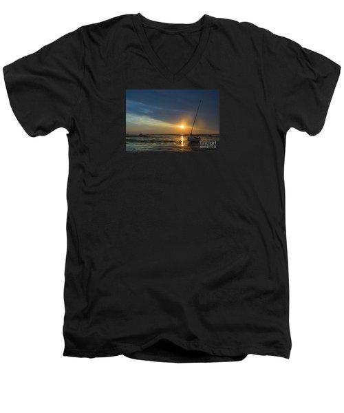 Sunset On Cape Cod Men's V-Neck T-Shirt by Diane Diederich