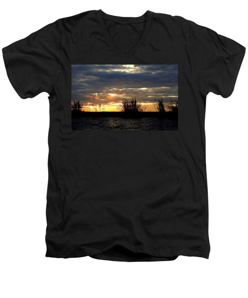 Men's V-Neck T-Shirt featuring the photograph Sunset On Chobe River by Betty-Anne McDonald