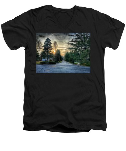 Sunset On Hilltop Drive Men's V-Neck T-Shirt