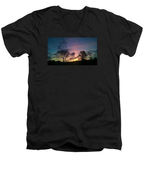 Men's V-Neck T-Shirt featuring the photograph Sunset On Hunton Lane #12 by Carlee Ojeda
