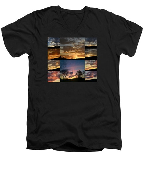 Men's V-Neck T-Shirt featuring the photograph Sunset On Hunton Lane by Carlee Ojeda