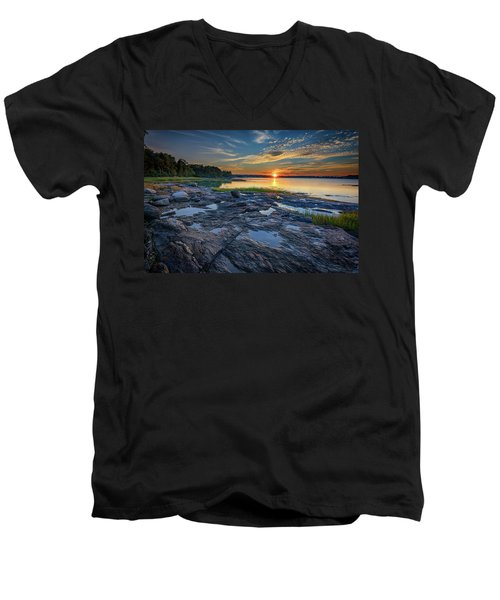 Men's V-Neck T-Shirt featuring the photograph Sunset On Littlejohn Island by Rick Berk
