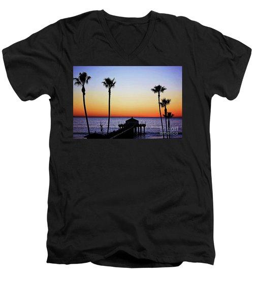 Sunset On Manhattan Beach Pier Men's V-Neck T-Shirt