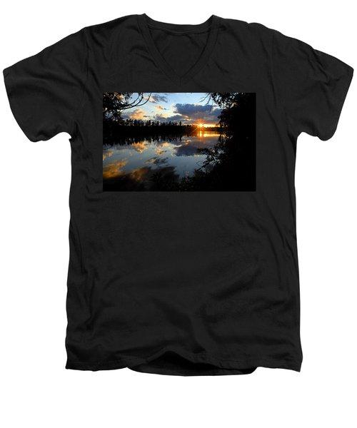 Sunset On Polly Lake Men's V-Neck T-Shirt by Larry Ricker