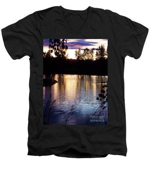 Sunset On River Men's V-Neck T-Shirt